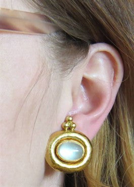 image of Elizabeth Gage Gold Moonstone Cabochon Earrings