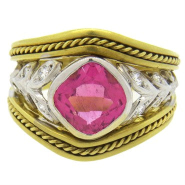 image of Seidengang Pink Tourmaline Diamond Gold Ring