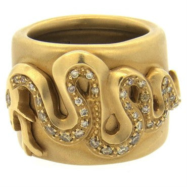 image of Pomellato Eva Diamond Gold Wide Band Snake Ring
