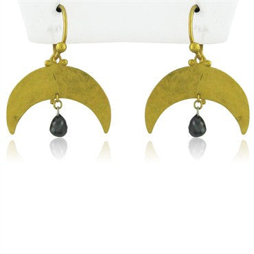 thumbnail image of New Gurhan 24K Gold Crescent Black Diamond Briolette Earrings