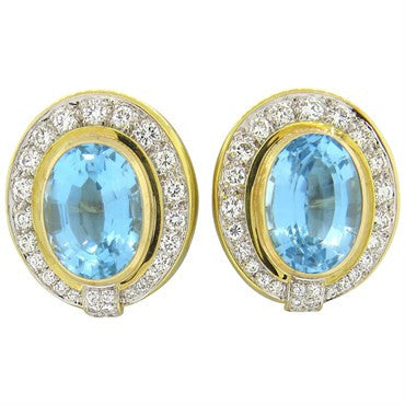 image of Impressive Blue Topaz Diamond Gold Earrings