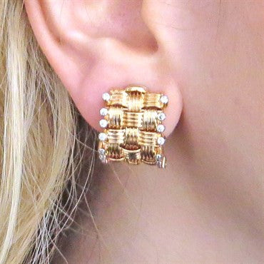 thumbnail image of Roberto Coin Appassionata Diamond Gold Earrings