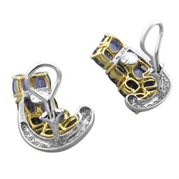 thumbnail image of Seaman Schepps 18K Gold Iolite Diamond Brooch Pin Earrings Set