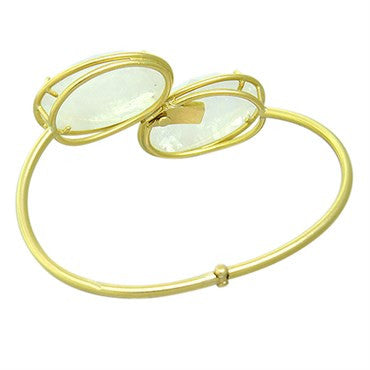 thumbnail image of Irene Neuwirth 18k Gold Rainbow Moonstone Bangle Bracelet