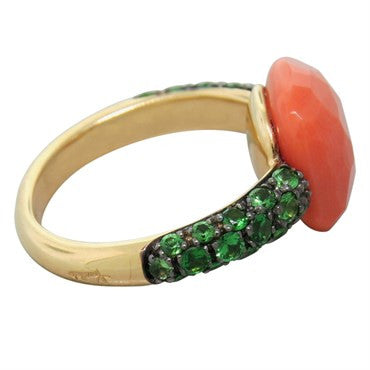 thumbnail image of New Pomellato Capri 18k Gold Coral Tsavorite Ring