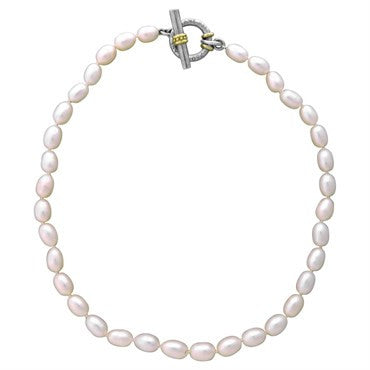 thumbnail image of Slane & Slane 18K Gold Sterling Silver Pearl Toggle Necklace