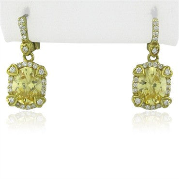 image of Judith Ripka 18K Gold Canary Crystal Diamond Drop Earrings