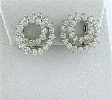 thumbnail image of Tiffany & Co Platinum 2.54ctw Diamond Swirl Ear Clips Earrings