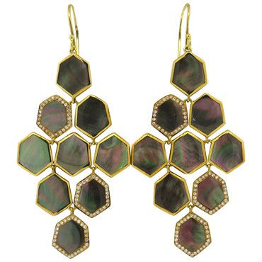 image of Ippolita 18k Gold Diamond Black Mother of Pearl Long Drop Earrings