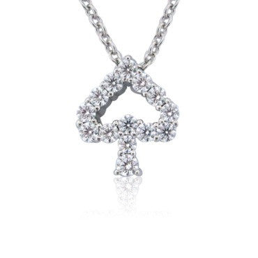 image of Hearts On Fire 18k Gold 0.43ct Diamond Spade Pendant