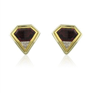 image of EGL Certified 18k Gold 5.40ctw Rubellite Tourmaline Diamond Earrings