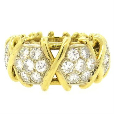 image of Fine 2.40ctw Diamond 18k Gold Band Ring