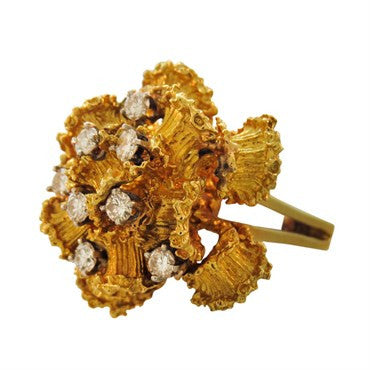 image of 1970s Diamond 18K Gold Floral Cocktail Ring