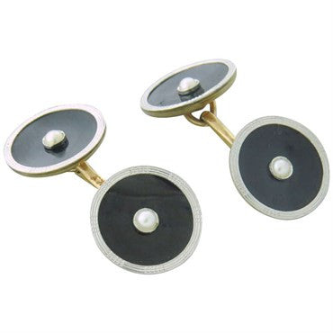 image of 1920s Art Deco Gold Onyx Pearl Cufflinks