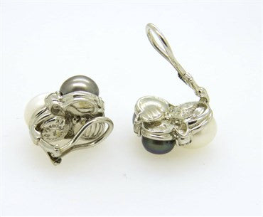 thumbnail image of Seaman Schepps Pearl Diamond Gold Earrings