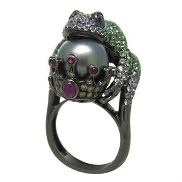 image of Modern Tsavorite Pearl Ruby Sapphire Diamond Blackened Gold Frog Ring