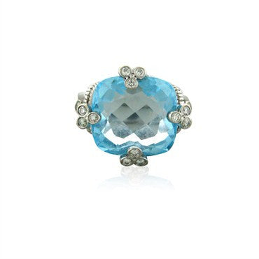 image of Judith Ripka 18k White Gold Blue Topaz Diamond Ring