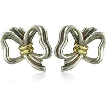 image of Estate Tiffany & Co Sterling Silver 18K Gold Ribbon Earrings