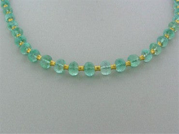 thumbnail image of Reinstein Ross 22K Yellow Gold Emerald Bead Flared Tube Necklace