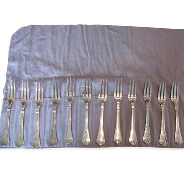 thumbnail image of Estate 12 pc Puiforcat Cardinal Silver Plate Dinner Fork Set