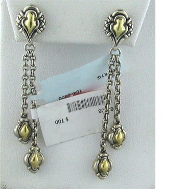 image of New Scott Kay Sterling 18k Gold Drop Earrings