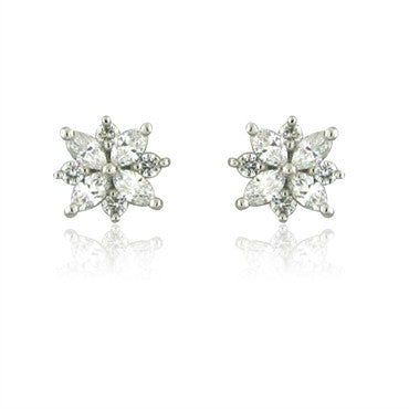thumbnail image of Tiffany & Co Victoria Collection Cluster Diamond Platinum Earrings