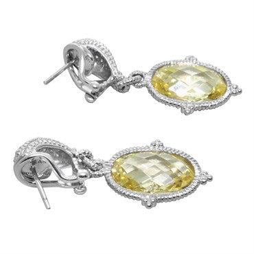 thumbnail image of Judith Ripka Sterling Silver Canary Crystal CZ Drop Earrings