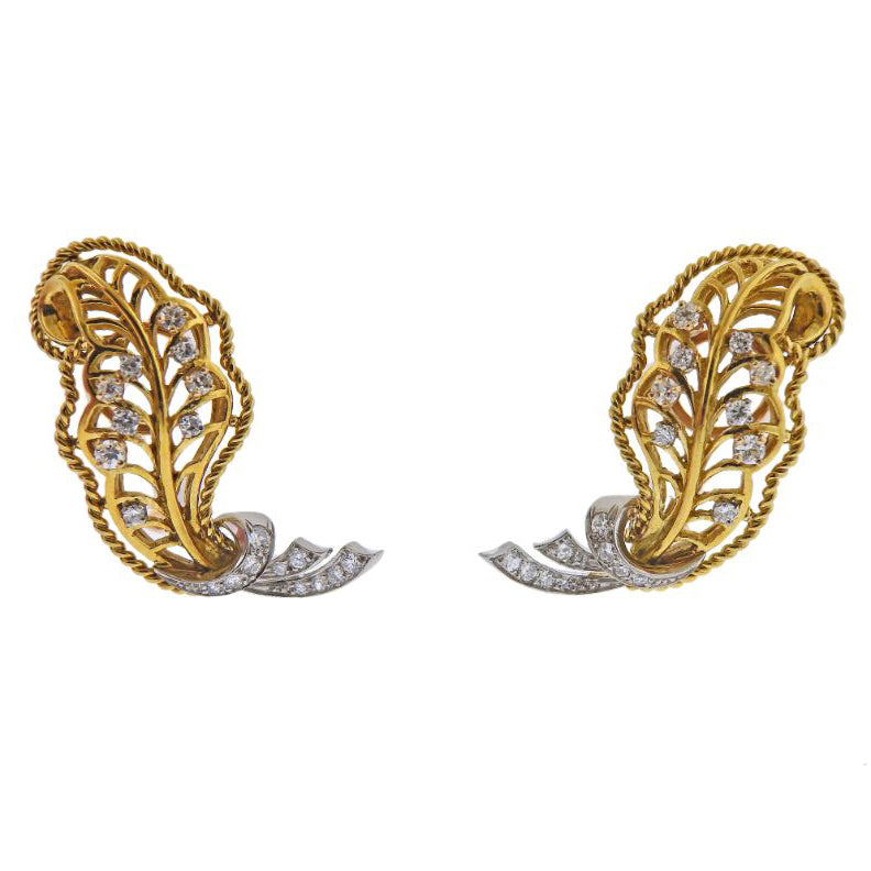 thumbnail image of Mid Century 18k Gold Diamond Earrings