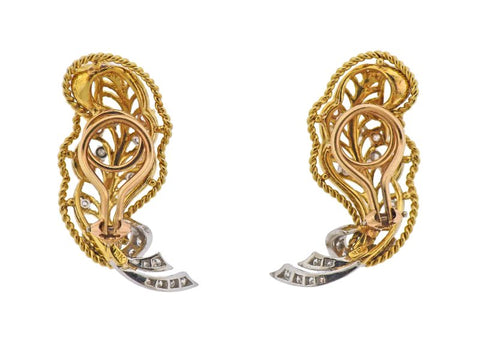 image of Mid Century 18k Gold Diamond Earrings