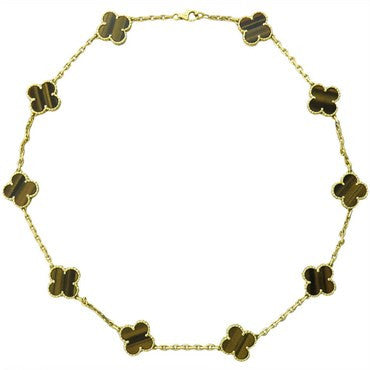 image of Van Cleef & Arpels Vintage Alhambra Gold Tiger's Eye Necklace