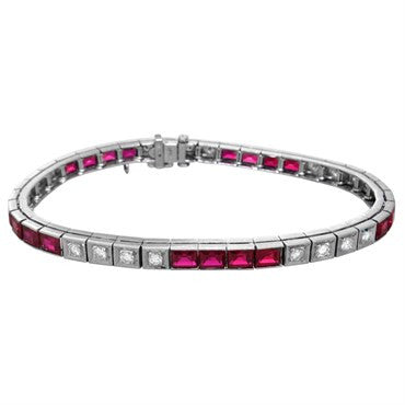image of 1950s 14k Gold Diamond Ruby Line Bracelet