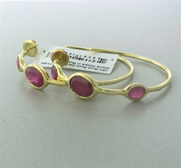 thumbnail image of New Ippolita 18K Gold Ruby Rock Candy Hoop Earrings