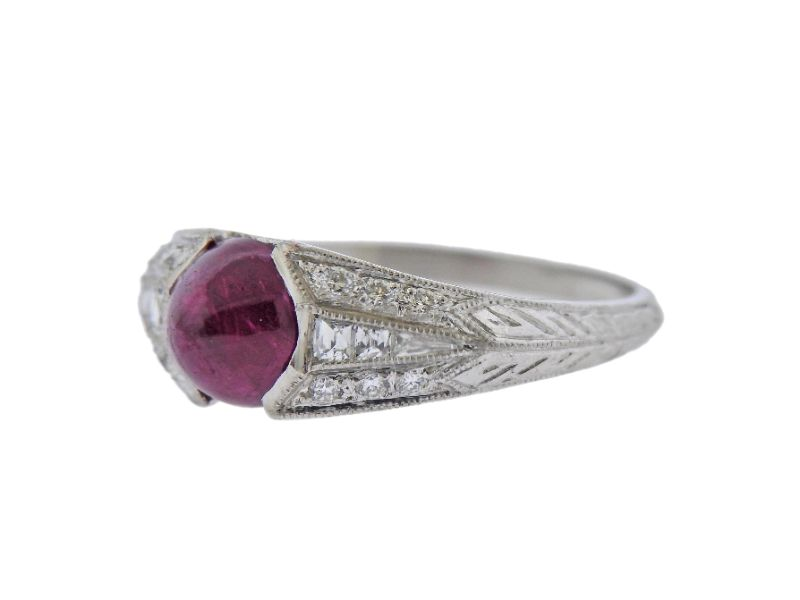thumbnail image of Certified 1.82ct No Heat Ruby Platinum Diamond Ring