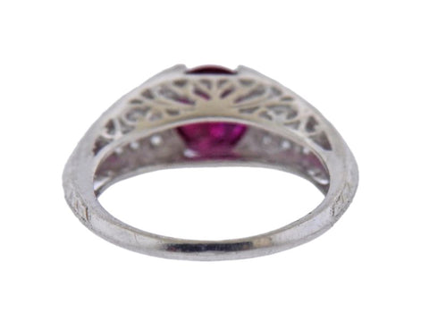 image of Certified 1.82ct No Heat Ruby Platinum Diamond Ring