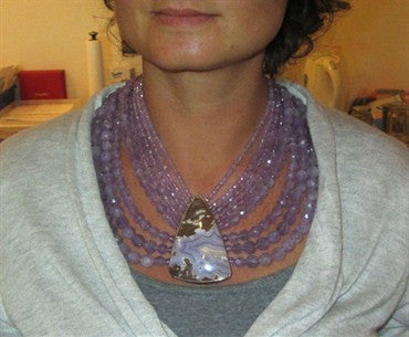 thumbnail image of Stephen Dweck OOAK Sterling Silver Purple Gemstone Bead Necklace
