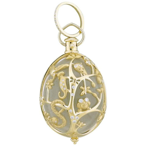 Temple St. Clair Crystal Diamond 18k Gold Earth Pendant