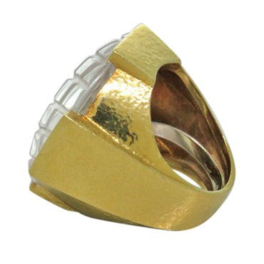 thumbnail image of David Webb Carved Rock Crystal 18k Gold Ring