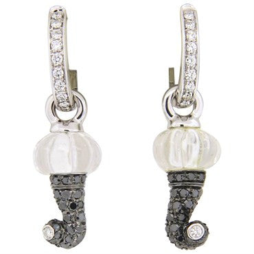 image of Chantecler Carved Crystal Black Diamond Drop Earrings