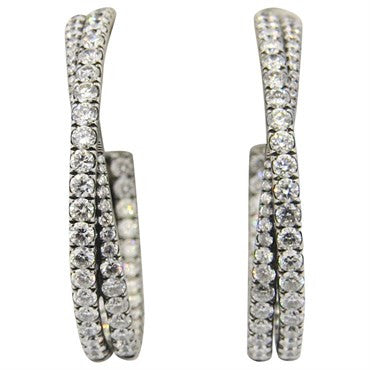 image of David Yurman 5.20 Carat Diamond 18k Gold Crossover Hoop Earrings