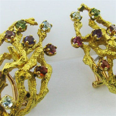 thumbnail image of Vintage 1970s H. Stern 18k Gold Color Gemstone Earrings