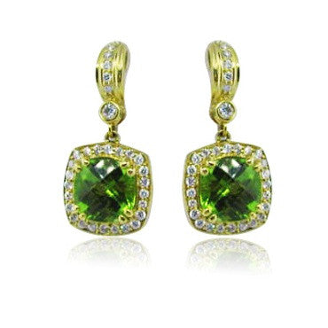 image of New Krypell 18K Gold 2.65ct Diamond Peridot Earrings