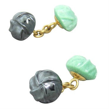 thumbnail image of Trianon Hematite Carved Jade Gold Cufflinks