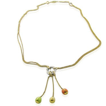 image of Faberge 18k Gold Diamond 3 Egg Drop Necklace
