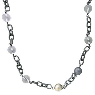 image of Gurhan Blackened Sterling Silver Crystal Ball Chain Link Long Necklace