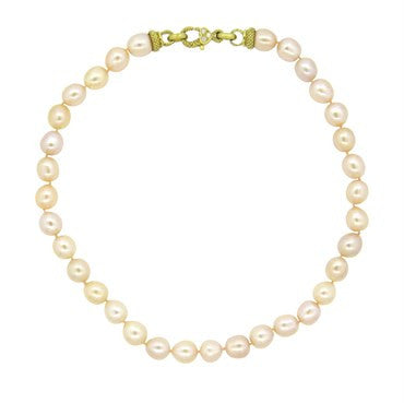 thumbnail image of Judith Ripka 18k Gold Diamond Pearl Necklace