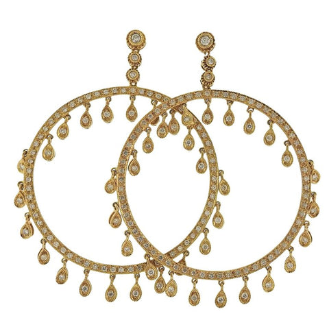 image of Diamond Gold Circle Earrings