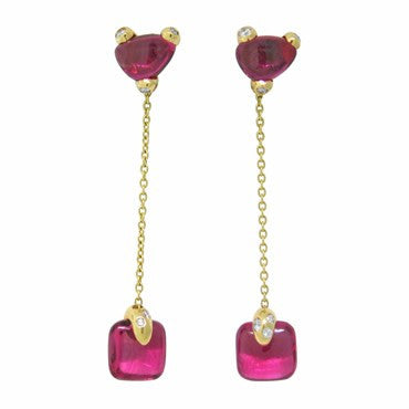 thumbnail image of New Pomellato Sassi 18k Gold Pink Tourmaline Diamond Drop Earrings