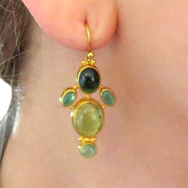 thumbnail image of Gurhan 24K Gold Emerald Peridot Tourmaline Drop Earrings