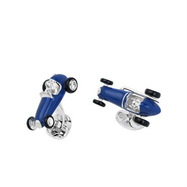 image of Deakin & Francis Sterling Blue Enamel Racing Car Cufflinks