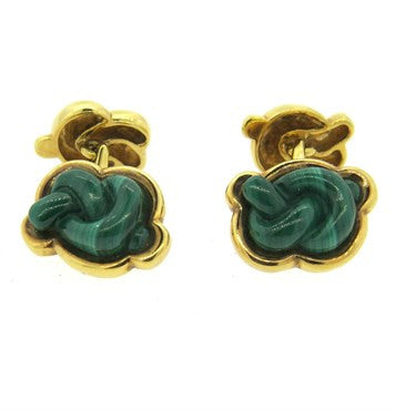 image of Malachite Twist Gold Cufflinks